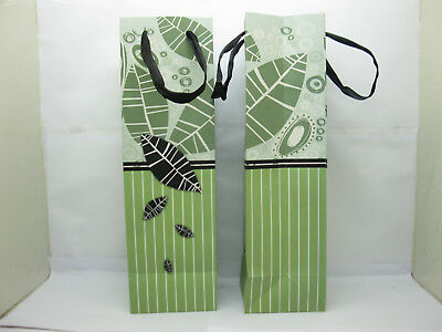 12X Green Leaf Wine Bottle Carrier Paper Gift Bags