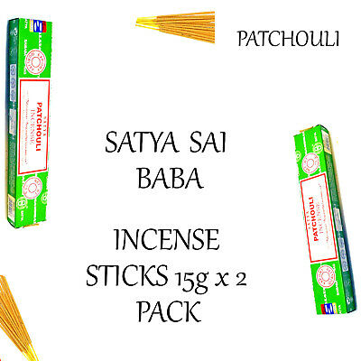 PATCHOULI ~ SATYA SAI BABA INCENSE STICKS 15g x 2 PACK ~ Home Fragrance Insence
