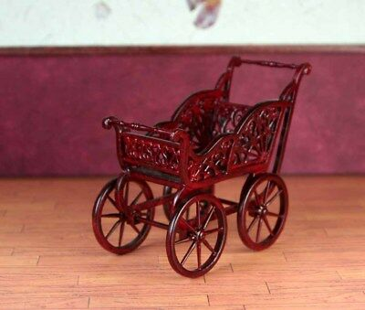 """Mahogany Baby Carriage MUSEUM QUALITY DOLLHOUSE FURNITURE 1:12  1"""" Scale BESPAQ"""