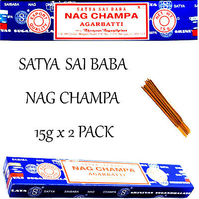 NAG CHAMPA ~ SATYA SAI BABA INCENSE STICKS 15g x 2 PACK ~ Home Fragrance Incense