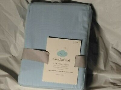 Cloud Island Crib Sheet Fitted 100% Cotton Light Baby Blue