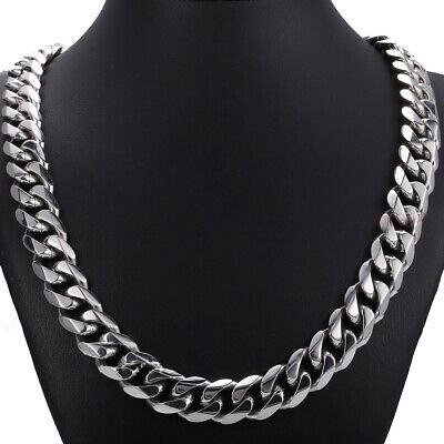 Top 15mm 316L Stainless Steel Heavy Link Silver Curb Cuban Chain Men Necklace