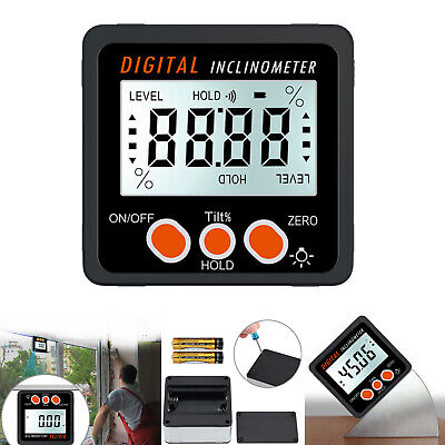 0-360° Digital Level Box LCD Protractor Inclinometer Angle Finder Meter +Battery