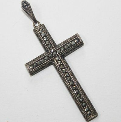 Old Silver A835 Cross Pendant, Marcasite Inlay