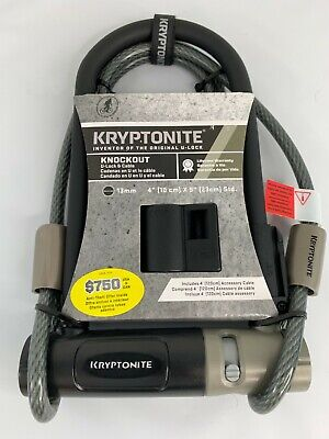 Kryptonite Knockout Bike Lock U-Lock with 4' Flex Cable and Bracket NEW