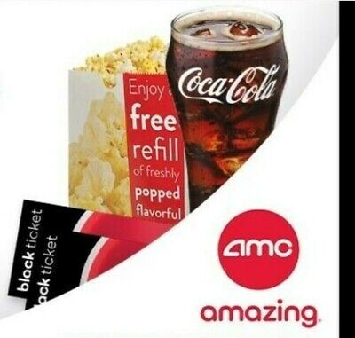 AMC THEATER 1 BLACK MOVIE TICKET ~ 1 LARGE POPCORN & 1 LARGE FOUNTAIN DRINK (x5)