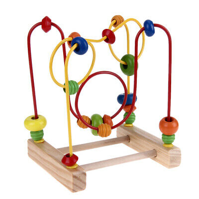Wooden Baby Math Toys Counting Circles Bead Abacus Wire Maze Roller Coaster