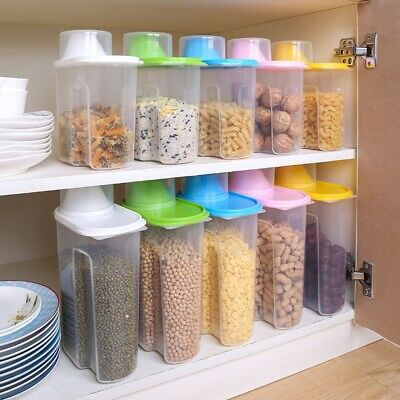 1.9/2.5L Large Cereal Keeper Food Storage Container Dispenser with Measuring Cup