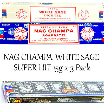 NAG CHAMPA ~ WHITE SAGE ~ SUPER HIT ~ 15g x 3 PACK SATYA SAI BABA INCENSE STICKS