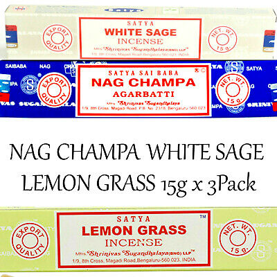 LEMON GRASS ~ NAG CHAMPA ~ WHITE SAGE ~15g x 3PACK SATYA SAI BABA Incense Sticks