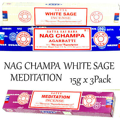 WHITE SAGE ~ MEDITATION ~ NAG CHAMPA ~ 15g x 3PACK SATYA SAI BABA INCENSE STICKS