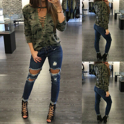 Women Plunge Deep V Low Cut Camo Camouflage Top T Shirt Tee Sexy Lace Up Blouse