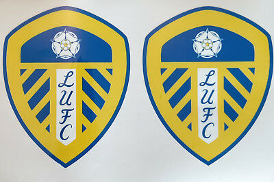 2 X LEEDS UNITED CREST BADGE LUFC car/laptop stickers/decals window  VINYL