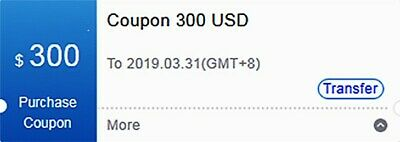 $300 US Bitmain Coupon for Purchase Antminer S15 T15 S11 DR5 Exp March 31/2019