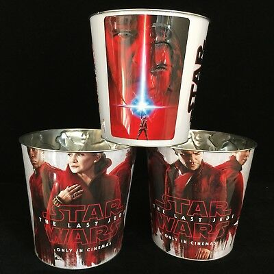 Star Wars The Last Jedi Movie Theater Cinema Popcorn Tubs All 3 Job Lot Bundle