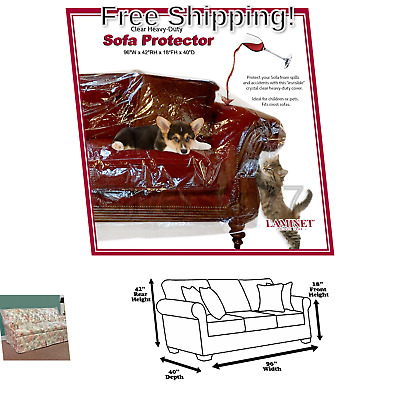 LAMINET Thick Crystal Clear Heavy-Duty Water Resistant Sofa//Couch Cover for