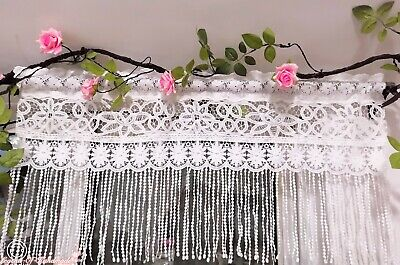 Beautiful French Country Style Rustic Cafe Curtain/Valance~Fringed Lace~White~