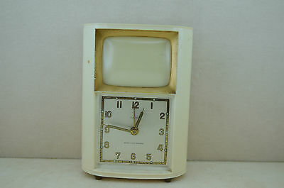 Table clock vintage shaped tv with chime in and photo holder