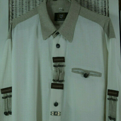 "OS TRACHTEN Men's Traditional Shirt XL 53"" Chest White Pewter Oktoberfest Tracht"