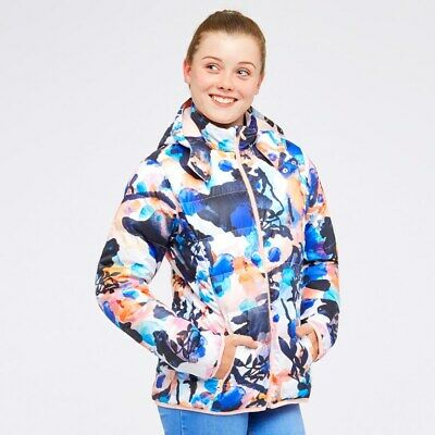 girls adidas coat Originals Trefoil AOP multicolour detachable hood jacket