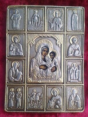 Old Silver Russian Orthodox Hand-painted Icon on Virgin Mary with  holy apostles
