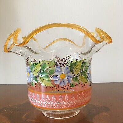 Glass Oil Lamp Shades Hand Painted In Excellent Condition No 2 Of The Pair