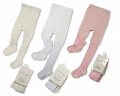 New Baby Girl Hearts & Diamonds Pink White Cream Nursery Time 0-24 Months Tights