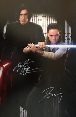 Star Wars (Adam Driver And Daisy Ridley) Signed Photo  12X8 With Coa