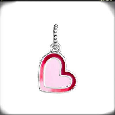 Authentic 925 Sterling Silver Asymmetric Heart of Love Pink Red Charm Brand New
