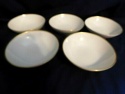 B Noritake Dignatio #7523 White w/ Gold Band Soup Cereal Bowls Lot of 5 Elegant