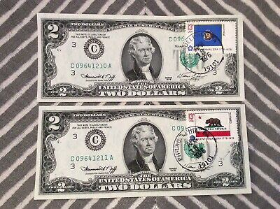 Two Consecutive 1976 Bicentennial Stamped $2 Bills
