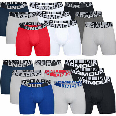 """Under Armour 2019 Mens Charged Cotton 6"""" Boxerjock 3 Pack Soft Boxer Shorts"""