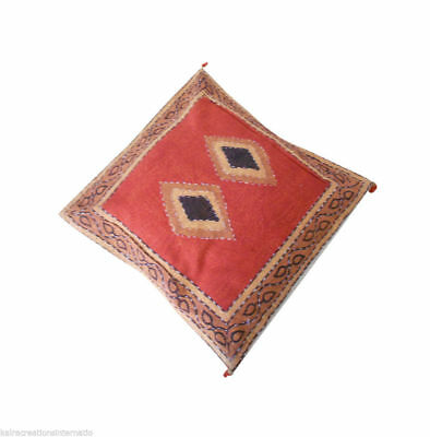 """1 Pc Cushion Covers Block Printed Multicolor Pillow Case Kantha Ethnic 16"""" Kcc1"""