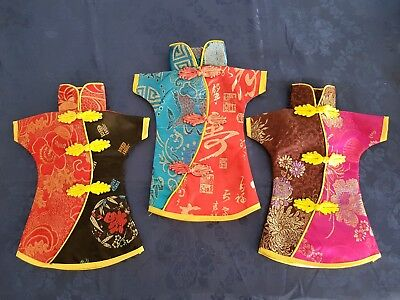 Set of 3 Chinese Tang Outfit Wine Bottle Covers Chinese Outfit Fabric Wine Cover