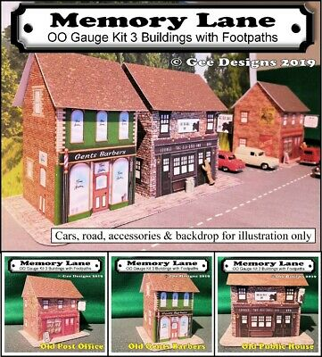 00 GAUGE MODEL Railway 210gsm Card Kits 3 Memory Lane Buildings in this Kit