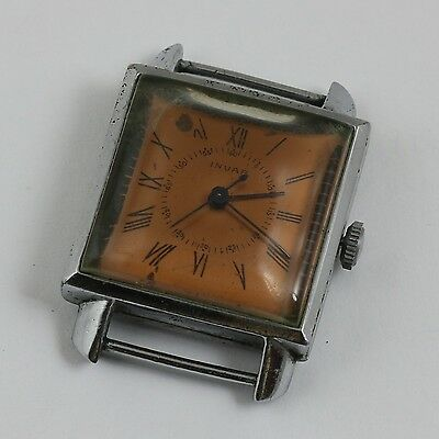 VINTAGE ART DECO SQUARE DIAL SWISS INVAR WRISTWATCH c.1941 EXTRA QUALITY