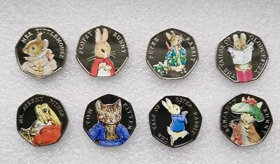 Beatrix Potter 2018 & 2017 Full Coins Set With  Decal  sticker From Sealed Bag