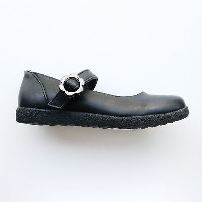 Girls Black Flat Shoes With Strap And Silver Buckle By Heart & Sole Size 13