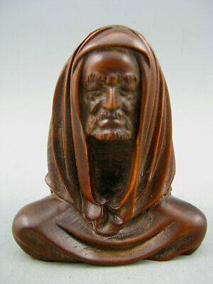Antique Chinese Old Boxwood Hand carved Bodhidharma Netsuke Statue