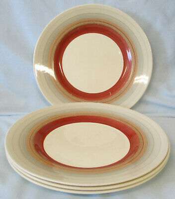 Susie Cooper Wedding Ring Gray Rust Luncheon Plate Set of 4, WELL USED