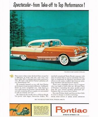 1955 Pontiac Star Chief Custom Catalina Brown Automobile Car art Vtg Print Ad