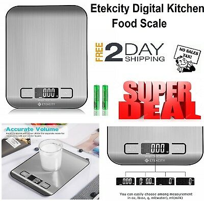 Etekcity Kitchen Digital Scale Multifunction Food Small 11 Lb Stainless Steel