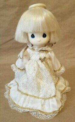 "Precious Moments Samuel Butcher Tree Topper Angel 9"" Doll White Gold"