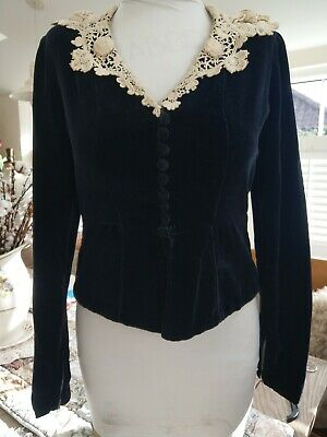 True Vintage 1940's handmade black velvet skirt suit with a lace collar and...