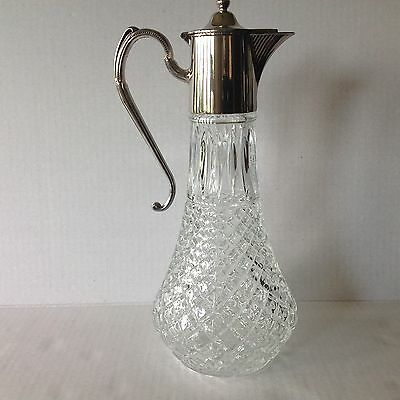 Vtg Pressed Glass Claret/Jug Clear Decanter Silver Plated Top Made in England