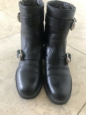 90520eff8 GUCCI BLACK LEATHER ANKLE EDIE BOOTS BOOTIES US 5.5 M, 6N AUTHENTIC $895  retail!