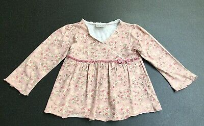 Next Girls Long Sleeve Pink Floral Top. Age 12-18 Months