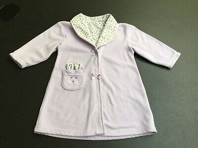 M&S Girls Lilac Fleece Dressing Gown.  Age 18-24 Months