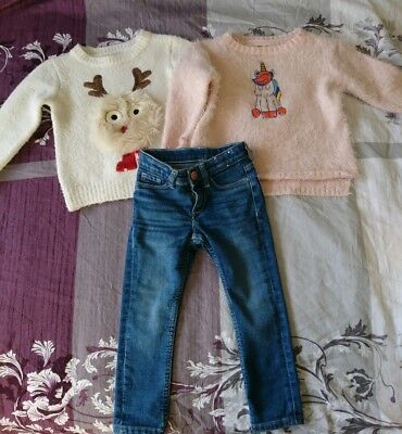 Baby Girl 2 Long  Sleeve  Top And Jeans 18-24 Months Denim F&f