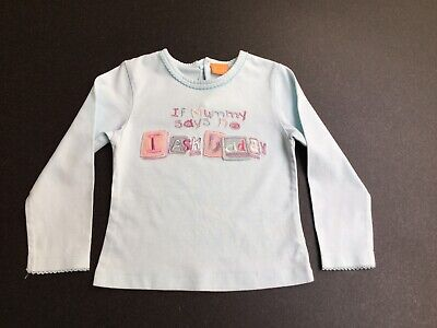 Mini Mode Girls Turquoise Long Sleeved Slogan Top.  Age 18-24 Months
